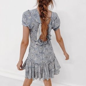 UFSOT CELESTIAL BLUE LACE UP DRESS SPELL S MINI